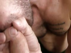 Horny dude sucking a long white throbbing shaft