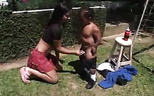 Dwarf fucks a chick outdoors