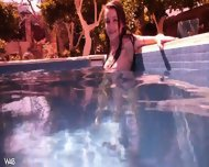 Naked Girl Is Swimming In The Pool