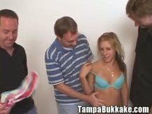 Hot blonde gang bang