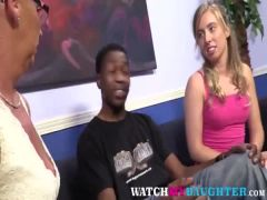 Interracial threesome with Teen and MIL