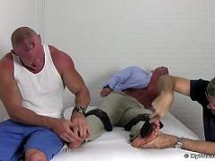 Ripped twonk Brad Barnes is bound and ready for the tickling