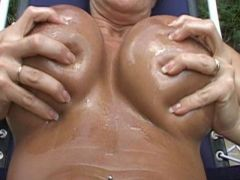 Wet and Oiled and she loves the groping