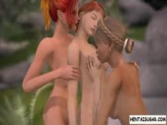 3d lesbian threesome outdoors