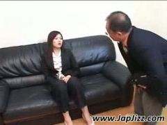Redhead oriental secretary gives head for cum