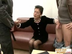 Horny old granny fucked in the office