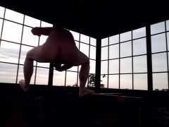 Fully nude in the lookout tower