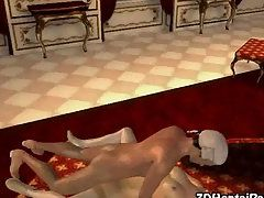 3D Hentai Babe with Blonde Wig Slammed Hard By Her Partner in Standing