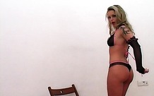 Tattooed chick in sexy panties teases camera