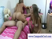 College girls in a ffm threesome