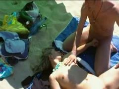 Gang bang french amateur at the public beach
