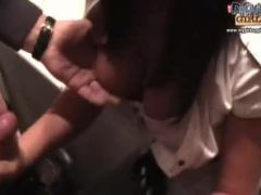 Slut fucking in a small public bathroom