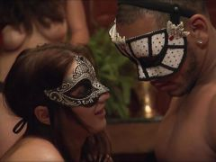 Playboy foursome orgy with masks