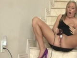 A sexy blonde and a powerful vibrator