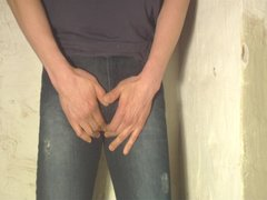 tight blue jeans wetting
