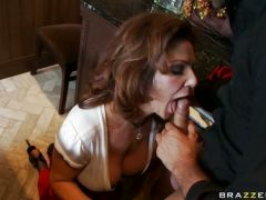hot matured Deauxma fits a juicy young cock in her mouth like a sausage