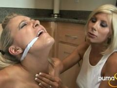 Breasty golden-haired lesBian Puma Swede getting horny with a girlfriend in the kitchen
