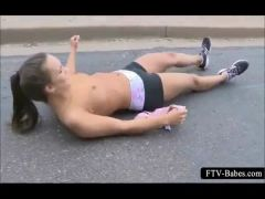 Sexy teen sporty babe jogging topless in public
