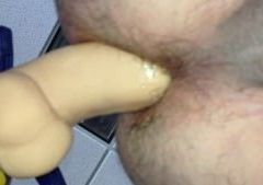 Fucking my ass with wife's dildo.
