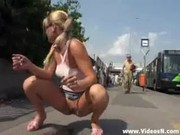 Girl nude in Public and kicked by an old man