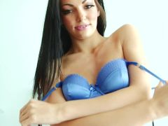 Gorgeous brunette Cath takes off her dress for the camera