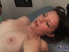 Horny brunette gets her nipples pierced