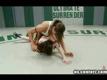 Two hot girls wrestle to see who gets fucked by the other