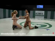Tattooed babe dominated in female wrestling
