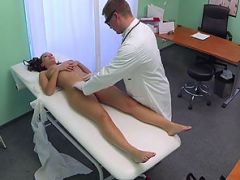 Sexy brunette patient gets her tight pussy rammed from behind