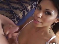 Hot asian loves to stroke cock