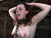 Redhead milf Maggie Mead is made to carry a big wooden balk