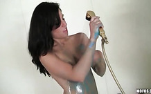 Small tits hottie washes body paint off