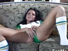 Horny brunette jacks off a big cock