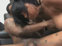 Brutally face fucked black babe chokes on a pimps cock
