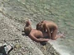 Hot Naked Babe Sucking Hard Cock On The Beach