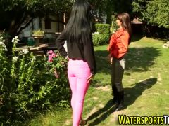 Fetish les pees in garden