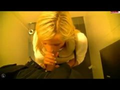 Blonde sucks and fucks in public bathroom