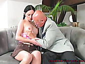 Horn-mad brunette with braids gives a solid blowjob to a bald headed dude