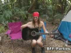 Leaked foursome lesbian camping video