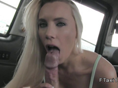 Blonde takes huge cock incab