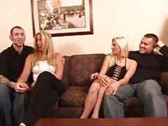 Two blond wives in swinging groupsex