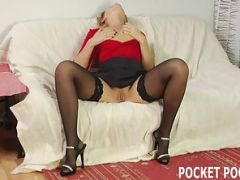 Mature blonde gets fed big cock and drains it dry