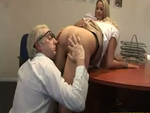 Horny girls go down on mature guys boner after they receive oral