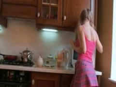 horny blond in the kitchen