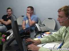 Officesex gay hunks jizz in the office