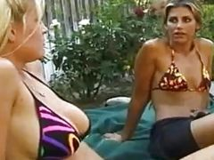 Lesbians fingering and licking outdoors