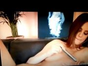 babe masturbating on the couch