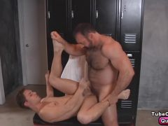 Brad takes his rock hard cock and rams it in deep in his tight ass