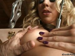 Horny Chastity Lynne clamps her throbbing nipples