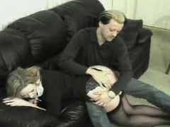 A-cup cutie, spanked and paddled by fellow and woman.